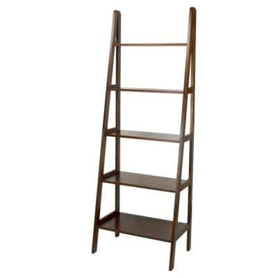 72 in. Warm Brown New Wood 5-Shelf Ladder Bookcase with Open Back