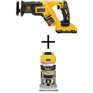 20-Volt MAX Lithium-Ion Cordless Brushless Compact Reciprocating Saw with 20-Volt Cordless Brushless Router (Tool-Only)