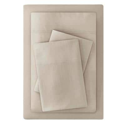 Jersey Knit Cotton Blend 4-Piece Full Sheet Set in Biscuit