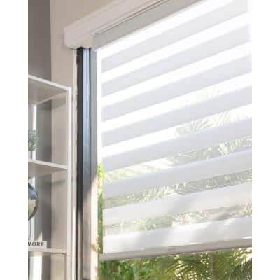 Basic Arctic Cordless Cut-to-Width Light Filtering Dual Layer Zebra Roller Shade 72 in. W x 72 in. L