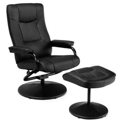 Recliner Home Black Chair Swivel Armchair Lounge Seat with Footrest Stool Ottoman