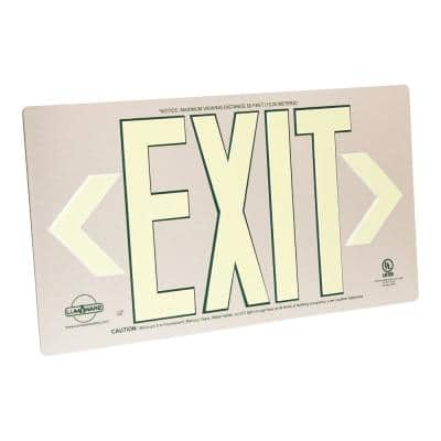 Brushed Metal Aluminum 50' Visibility 5 fc Rated Energy-Free Photoluminescent UL924 Emergency Exit Sign LED Compliant