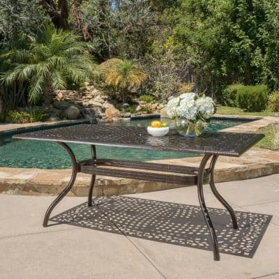 Phoenix Hammered Bronze Rectangle Aluminum Outdoor Dining Table