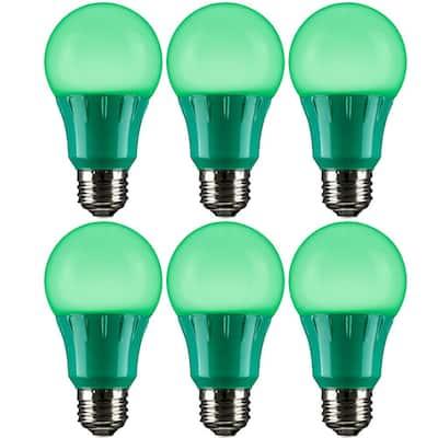 22-Watt Equivalent A19 LED Light Bulbs LED Medium E26 Base in Green (6-Pack)