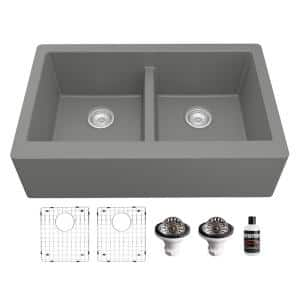 QA-750 Quartz/Granite 34 in. Double Bowl 50/50 Farmhouse/Apron Front Kitchen Sink in Grey with Grid and Strainer