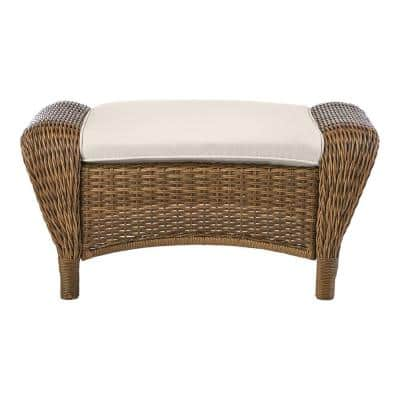 Beacon Park Brown Wicker Outdoor Patio Ottoman with CushionGuard Almond Tan Cushions