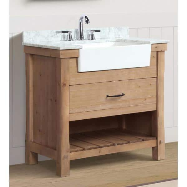 Ari Kitchen And Bath Marina 36 In Single Bath Vanity In Driftwood With Marble Vanity Top In Carrara White With White Farmhouse Basin Akb Marina 36dw The Home Depot
