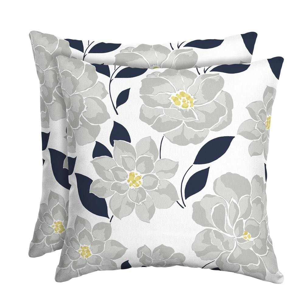 Hampton Bay Flower Show Square Outdoor Throw Pillow 2 Pack Th0q554a D9d2 The Home Depot