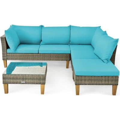 Wicker Outdoor Loveseat with Turquoise Cushions
