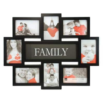 """Family 8 Openings Collage Frame - Black, 17.5"""" by 22"""", 8 - 4"""" x 6"""" Photos"""