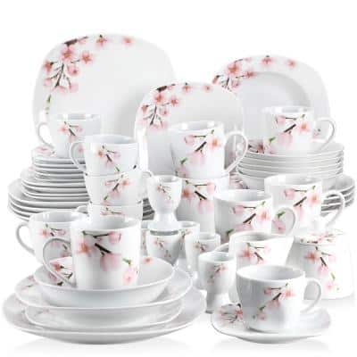 50-Piece White Porcelain Dinnerware Set Plates and Bowls Set Cup and Sugar Pot (Service for 6)