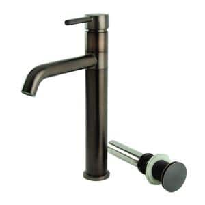 Single Hole Single-Handle Swivel Arm Euro Vessel Bathroom Faucet with Drain in Oil Rubbed Bronze
