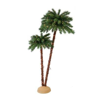 3.5 ft./6 ft. Pre-Lit Artificial Palm Tree with 175 UL-Listed Lights