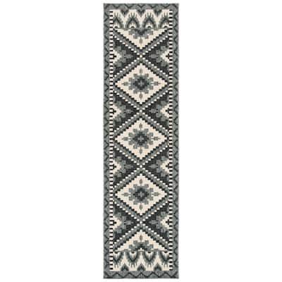 Veranda Gray/Beige 2 ft. x 14 ft. Southwestern Tribal Indoor/Outdoor Runner Rug
