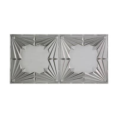 Art Deco 2 ft. x 4 ft. Glue Up Vinyl Ceiling Tile in Argent Silver (40 sq. ft.)