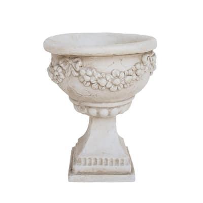Cassia 10.25 in. x 10.25 in. Antique White Lightweight Concrete Outdoor Garden Urn Planter with Garland Accents