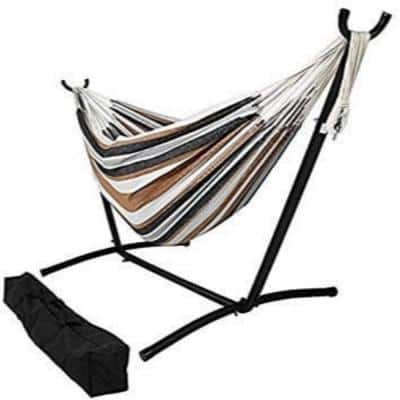 Stripe 9 ft. Freestanding Hammock Bed with Stand in Neutral Colors