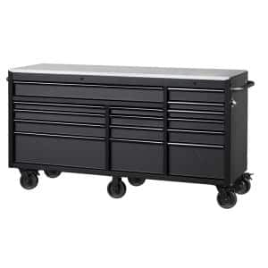 Heavy-Duty 72 in. W 15-Drawer, Deep Tool Chest Mobile Workbench in Matte Black with Stainless Steel Top and Dual Locks