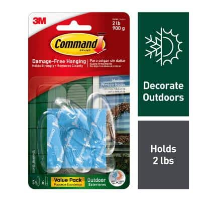 Outdoor Medium Clear Window Hooks with Clear Adhesive Strips Value Pack (5 Hooks, 6 Strips)