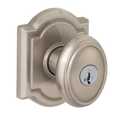 Prestige Carnaby Satin Nickel Entry Door Knob Featuring SmartKey Security
