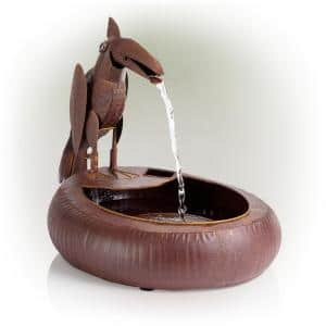 16 in. Tall Indoor/Outdoor Rustic Metal Toucan Waterfall Fountain Yard Statue Decoration, Brown