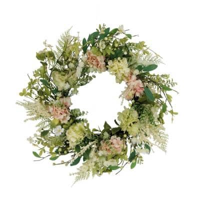 24 in. Artificial Hydrangea and Dogwood Floral Spring Wreath
