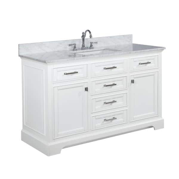 Design Element Milano 54 In W X 22 In D Bath Vanity In White With Carrara Marble Vanity Top In White With White Basin Ml 54 Wt The Home Depot