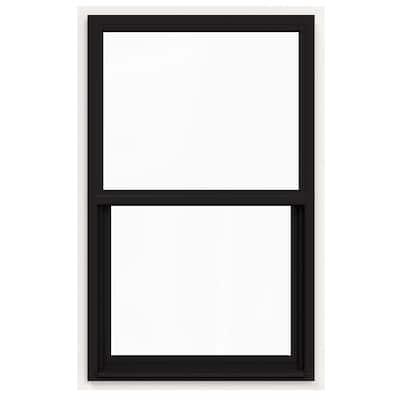 30 in. x 42 in. V-4500 Series Black FiniShield Single-Hung Vinyl Window with Fiberglass Mesh Screen