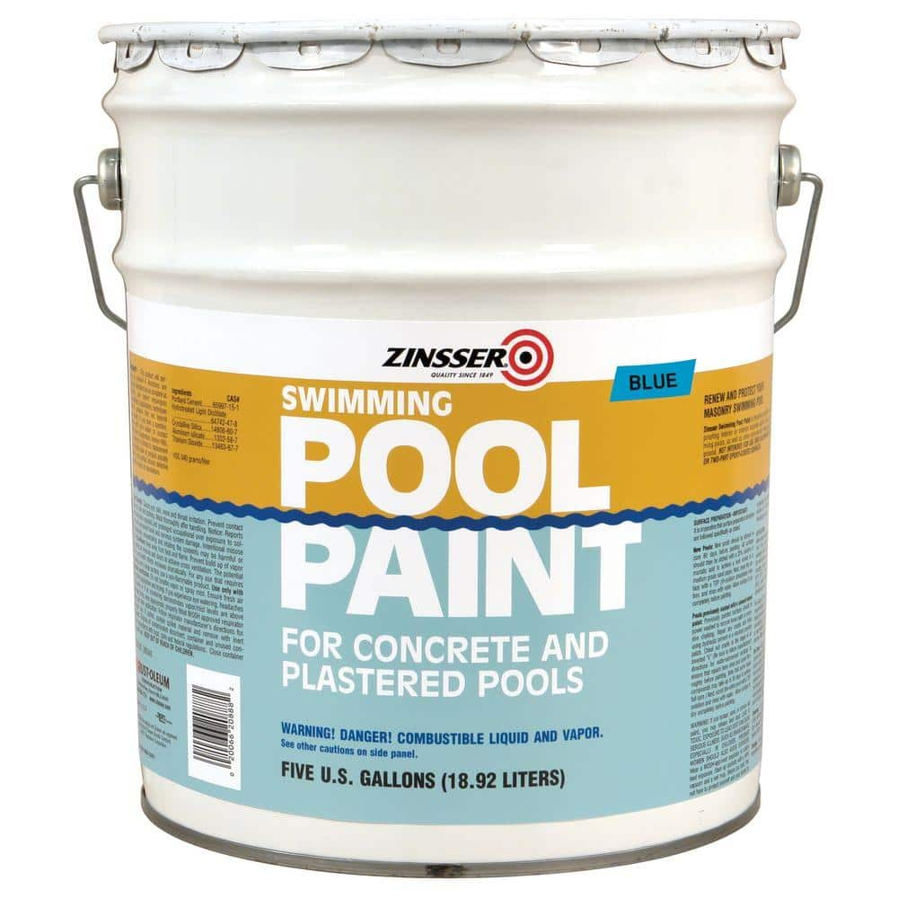 Zinsser 5 Gal Blue Flat Oil Based Swimming Pool Paint 260542 The Home Depot