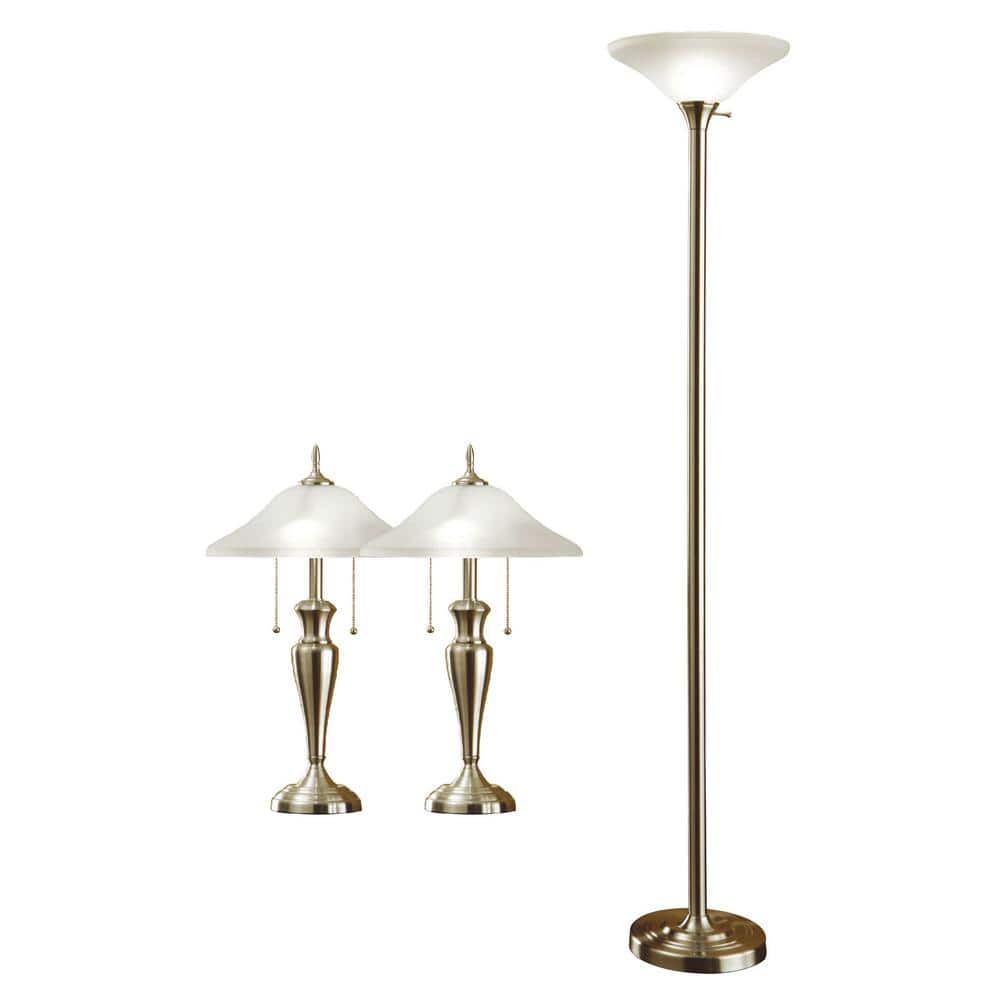 Artiva 71 In Torchiere And 24 In Table Lamps With A Brushed Steel And Quality Hammered Glass Shades 3 Piece 9478mx The Home Depot
