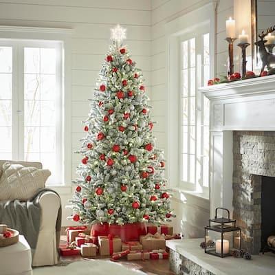 7.5 ft. Pre-Lit Led Flocked Balsam WRGB Artificial Christmas Tree