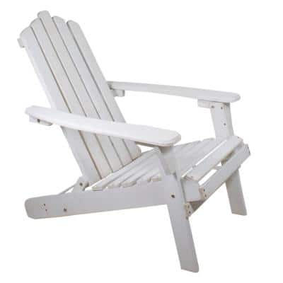 36 in. White Classic Folding Wooden Adirondack Chair