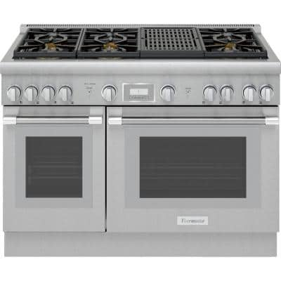 Pro Harmony 48 in. 4.6 cu. ft. Slide-in Double Oven Gas Range with Self-Cleaning Convection Oven in Stainless Steel