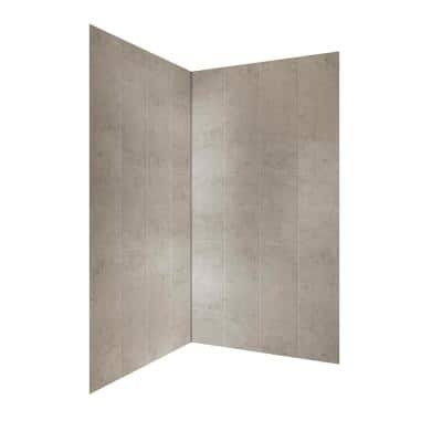 Jetcoat 42 in. x 78 in. 2-Piece Easy-Up Adhesive Neo-Angle Shower Surround in Shale