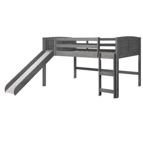 Donco Kids Antique Grey Twin Louver Low Loft Bed with Slide | The Home Depot