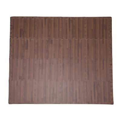 "Soft EVA Foam Mat Flooring Tiles, Cherry Wood Print, 16 PC, 12"" x 12"", 16 sq. ft."