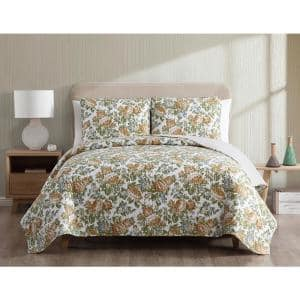 Janice Reversible Floral Gold Twin Quilt Set,