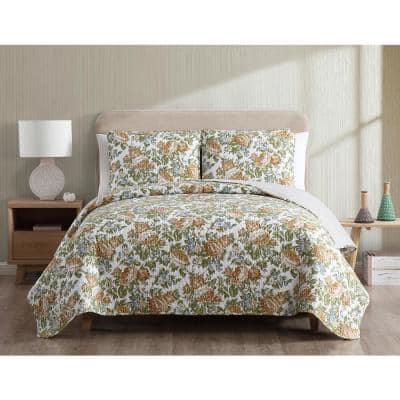 Janice Reversible Floral Gold Full/Queen Quilt Set,