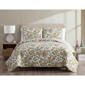 Janice Reversible Gold Floral King Quilt Set,