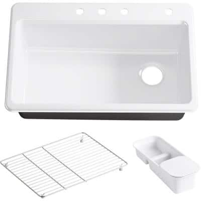 Riverby Workstation Drop-In Cast Iron 33 in. 4-Hole Single Bowl Kitchen Sink Kit with Included Accessories in White