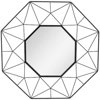 Medium Octagonal Black Metal Frame Modern Mirror (25 in. H x 25 in. W)