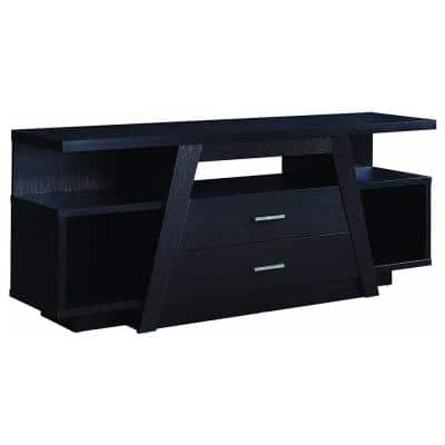 60 in. Black Wood TV Stand with 2 Drawer Fits TVs Up to 42 in. with Built-In Storage