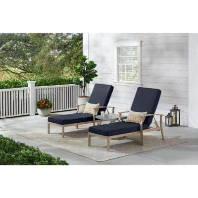 Beachside Rope Look Wicker Outdoor Patio Chaise Lounge with CushionGuard Midnight Navy Blue Cushions (2-Pack)