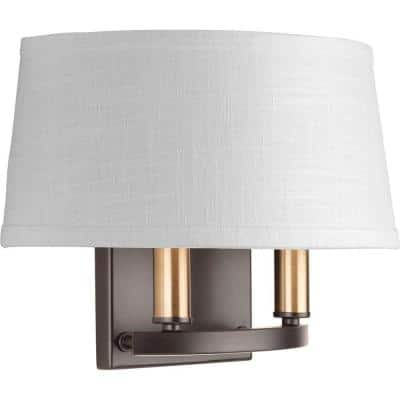 Cherish Collection 2-Light Antique Bronze Wall Sconce with Linen Shade