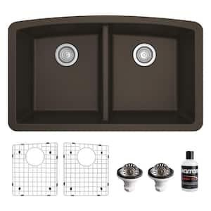 QU-710 Quartz/Granite 32 in. Double Bowl 50/50 Undermount Kitchen Sink in Brown with Bottom Grid and Strainer
