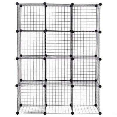 14 in. W x 14 in. H x 14 in. D Black DIY 12 Cube Grid Wire Cube Shelves Shelving Unit