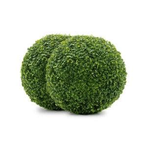 13 in. Boxwood Indoor/Outdoor Foliage Balls (2-Pack)