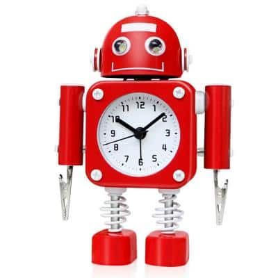 Ruby Red Non-Ticking Robot Alarm Clock Stainless Metal - Wake-up Clock with Flashing Eye Lights and Hand Clip