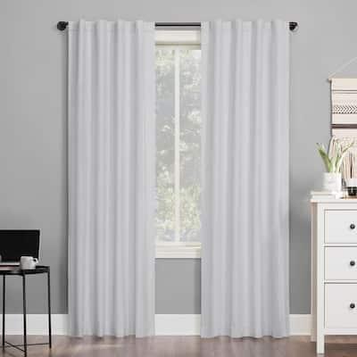 "Cyrus 40""W x 63""L White Thermal 100% Blackout Back Tab Curtain Panel"