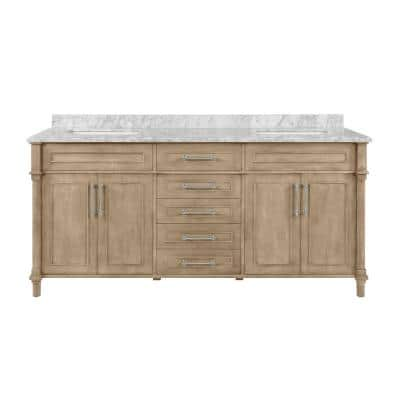 Aberdeen 72 in. x 22 in. D Bath Vanity in Antique Oak with Carrara Marble Vanity Top in White with White Basins
